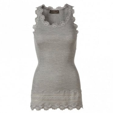 Medium Silk Vest with Wide Lace in Light Grey Melange