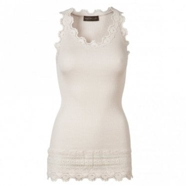 Medium Silk Vest with Wide Lace in Soft Powder