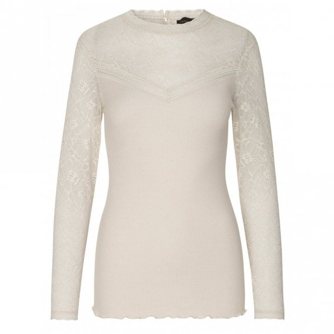 Rosemunde Regular Silk Long Sleeve Silk Top with Lace Detail in Soft Powder