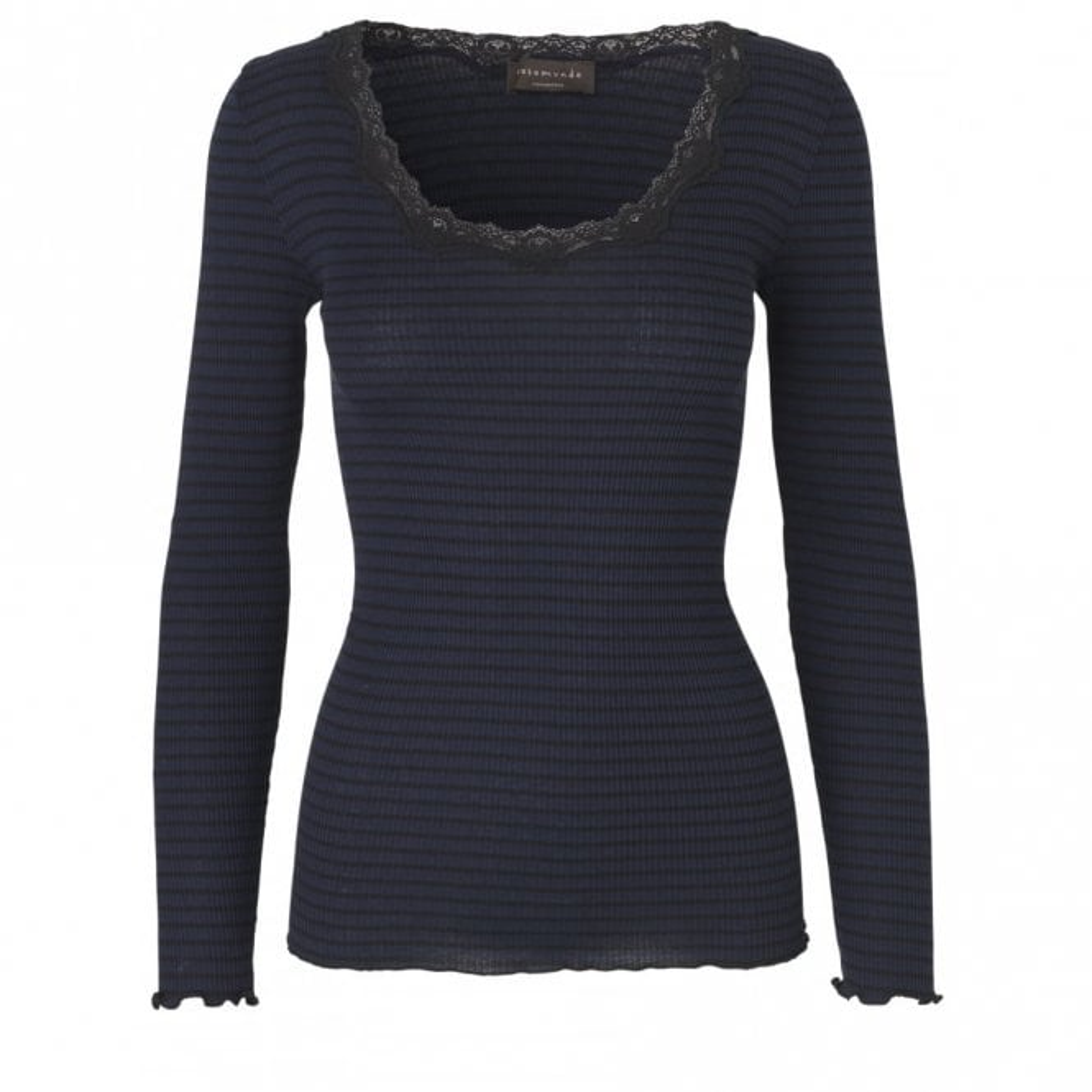 Rosemunde Regular Silk Long Sleeve T-Shirt with Vintage Lace in Navy Black Stripe