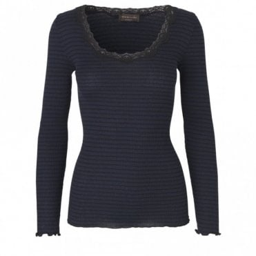 Regular Silk Long Sleeve T-Shirt with Vintage Lace in Navy Black Stripe