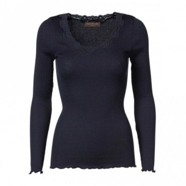 Regular Silk Long Sleeve T-Shirt with Vintage Lace in Navy