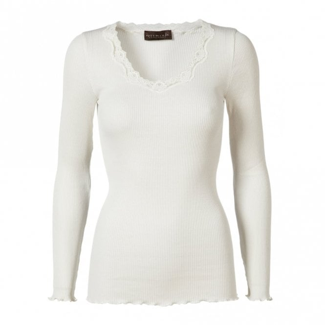 Rosemunde Regular Silk Long Sleeve T-Shirt with Vintage Lace in New White