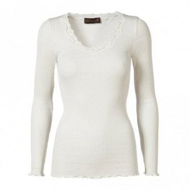 Regular Silk Long Sleeve T-Shirt with Vintage Lace in New White