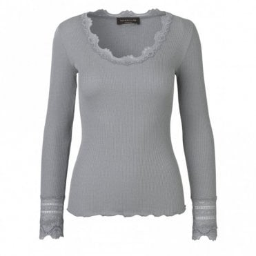 Regular Silk Long Sleeve T-Shirt with Wide Lace in Grey Moon