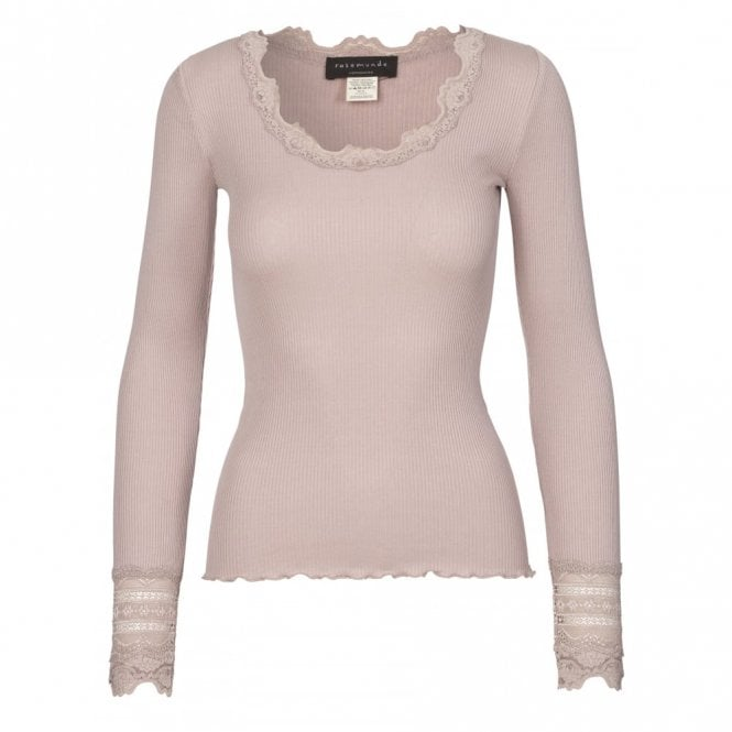 Rosemunde Regular Silk Long Sleeve T-Shirt with Wide Lace in Vintage Powder