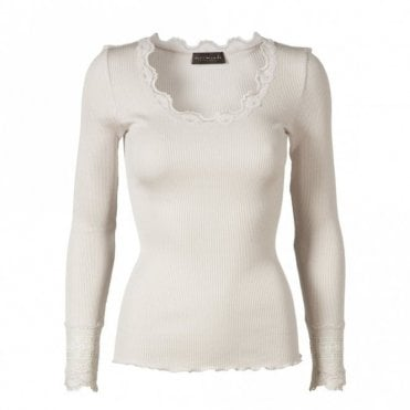 Rosemunde Regular Silk Long Sleeve T-Shirt with Wide Lace Sleeves in Soft Powder