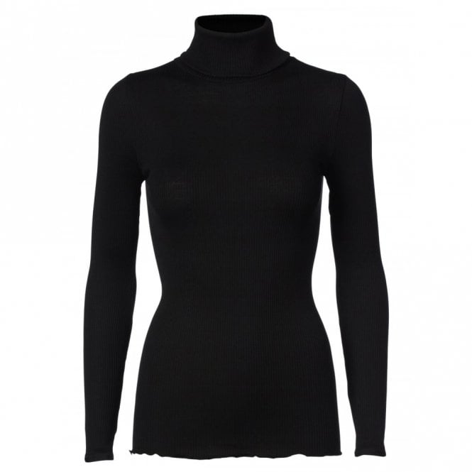 Rosemunde Regular Silk Roll Neck in Black