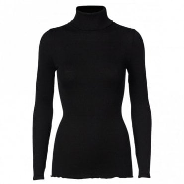 Regular Silk Roll Neck in Black