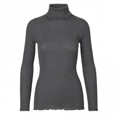 Regular Silk Roll Neck in Dark Grey Melange