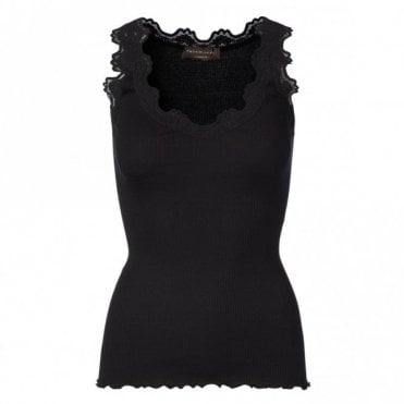 Regular Silk V-Neck Vest with Vintage Lace in Black