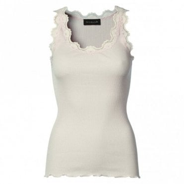 Regular Silk Vest with Vintage Lace in Soft Rose