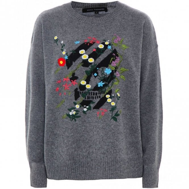 Skull Cashmere Aji Skull and Floral Cashmere Jumper in Mid Heather Grey and Black