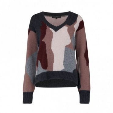 Cayenne-Vee Cashmere Jumper in Mid Heather Grey Camo