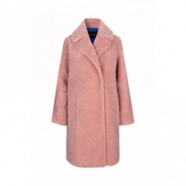 Concord Faux Fur Coat in Rosette Pink