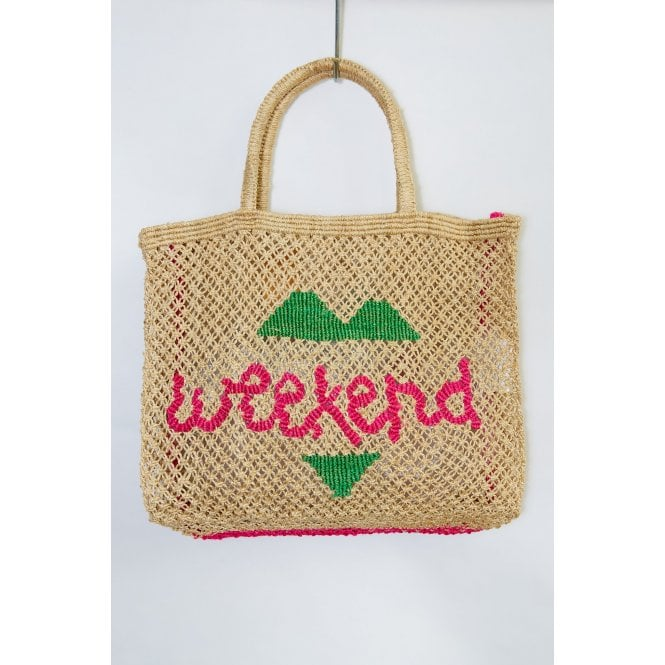Weekend Large Jute Bag in Natural with Green and Pink