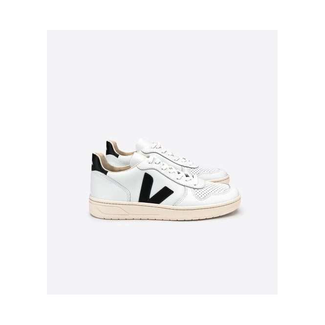 Veja V-10 Leather Trainers in Extra White Black