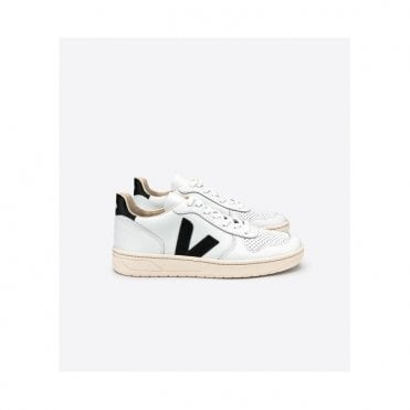 V-10 Leather Trainers in Extra White Black