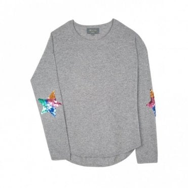 Flo Sequin Star Cashmere Jumper in Grey and Rainbow