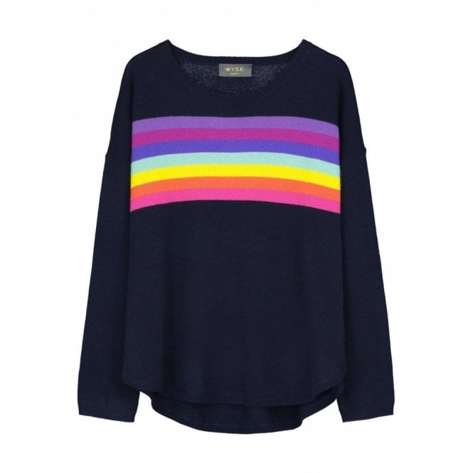Wyse London Ines Rainbow Slouchy Cashmere Jumper in Navy