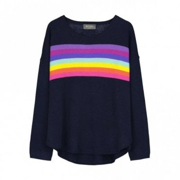 Ines Rainbow Slouchy Cashmere Jumper in Navy