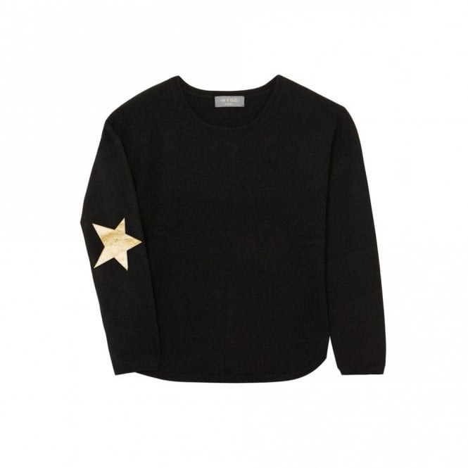 Wyse London Juliet Star Cashmere Jumper in Black and Gold
