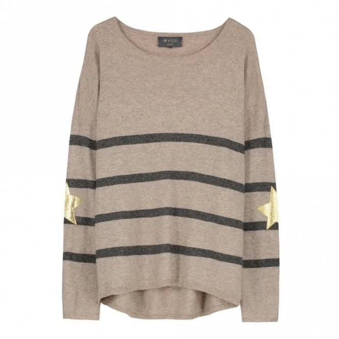 Wyse London Marielle Gold Star Cashmere Jumper in Taupe and Grey