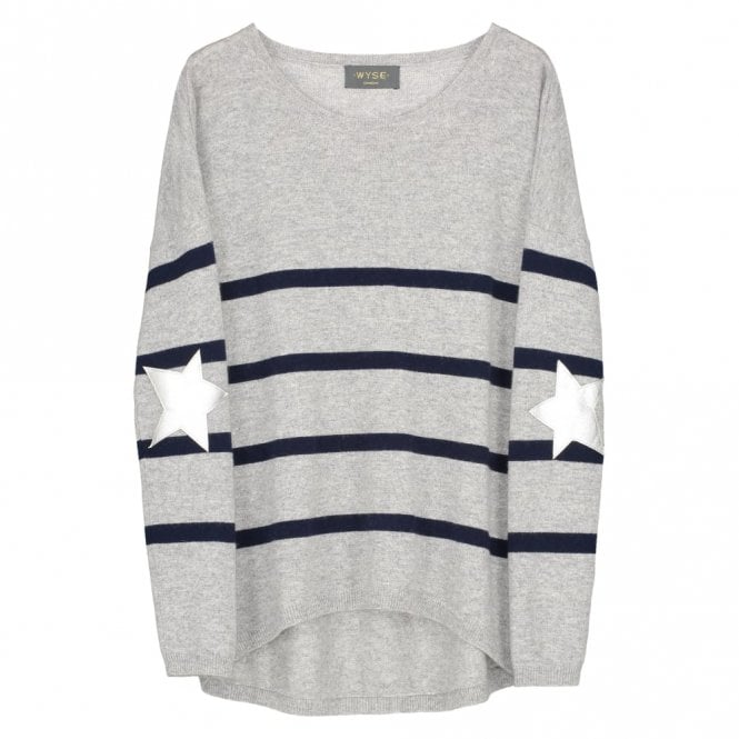 Wyse London Marielle Silver Star Cashmere Jumper in Grey and Navy