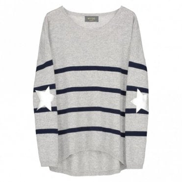 Marielle Silver Star Cashmere Jumper in Grey and Navy